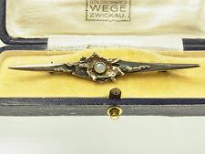 Schöne Designer Opal Brosche  925 Sterlingsilber & Gold Edelopal 70 iger Jahre