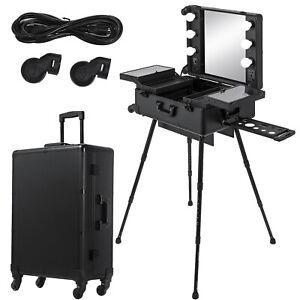 2 in 1 Beauty Cosmetics Makeup Case Trolley Jewelry Mirror Adjustable Legs