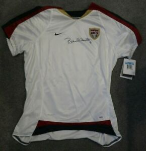 BRANDI CHASTAIN SIGNED AUTOGRAPHED TEAM USA JERSEY   OLYMPIC GOLD   PSA/DNA