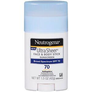 Neutrogena Sunscreen Ultra Sheer Stick SPF 70, 1.5 Ounce: 3 packs