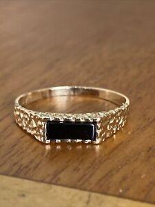 Ladies Vintage  9ct Gold & Onyx Signet  Ring ~ Size S~ Fabulous !!