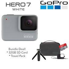 GoPro Hero7 White 1080P 60 10MP WaterProof Camera + 32GB SD + Travel Kit Bundle