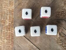 "AWESOME set of 5 Original Vintage 5/8"" RARE Poker Dice Bakelite Gambling gaming"