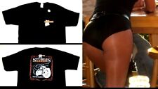 L Hooters Uniform Crop Top T-Shirt Biker Dolfin Logo Shorts hosiery name tag