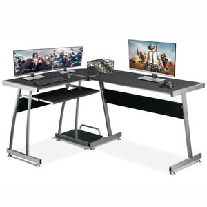Executive Gaming Computer Desk w/ Keyboard Writing Table Home Office Workstation