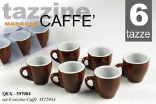 SET TAZZINE 6 PEZZI TAZZA CAFFè 80 ML BAR MARRONE PORCELLANA PIENA QEX 597084