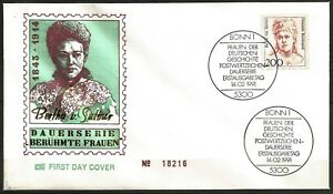 Germany 1991 FDC - Art Novelist Pacifist Bertha von Suttner Famous Women Series