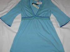 SWEETEES Womens S Blue Vee Neck Tunic 3/4 Length Sleeve Empire Waist Top NWT
