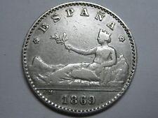 1869 FIRST REPUBLIC 50 CENTIMOS *6-9 SPANISH SPAIN SILVER RARE ,