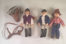 """Lot Of 3 Wooden Posable 7"""" Girl in Riding Gear Dolls w/small Saddle Euc"""
