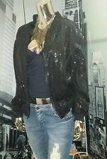 Vintage 80's Hip Hop Black Silk Zip Front Sequin Rockstar  Jacket S