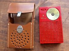 Vintage 1954 Regency TR-1 Red Transistor Radio and Leather Case