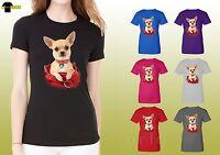 Chihuahua Shirts Women Cute Puppy Chihuahua Cup Graphic Ladies T-Shirt 14958hl4