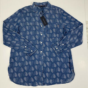 Tommy Hilfiger Womens Blue Polka Dot Heart Tie Front Button Down Size S