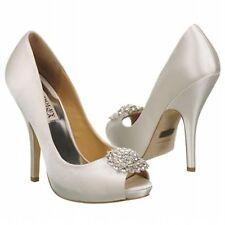 NIB Badgley Mischka Lissa wedding bridal sandals open toe pump shoes White 10 M
