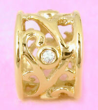SOLID 9CT 9K GOLD Blossom BEAD with 4 Sparkling CZ Fit Charm Bracelet / Necklace
