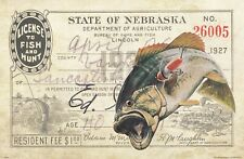 Vintage Nebraska Hunting Bass Fishing License Art Print 11x17 Cabin Wall Decor