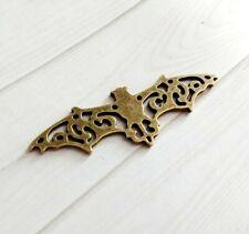 "Large Bat Connector Pendant Antiqued Bronze Filigree Halloween Link Charm 2.25"""