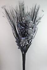 LUXURY HANDMADE ARTIFICIAL SILK BLACK-SILVER GLITTER ROSE SILVER FLOWER BOUQUET
