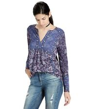 Lucky Brand - Women's XS - NWT $49 - Purple Border Scarf Print Peasant Knit Top
