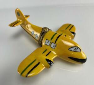 Limoges France Porcelain Trinket Box Yellow Airplane Vintage Peint Main