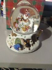 Disney Winnie The Pooh Snow Globe Music Box Winter Wonderland Christmas Holiday