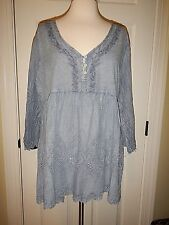 NEW S M 8 10 Simply Noelle Timeless Blue Distressed Eyelet Button Top NWT