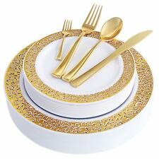 150Pcs Gold Plastic Plates with Disposable Plastic Silverware,Lace Design Plasti