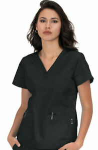 "Koi Scrubs #394 V-Neck Detailed Scrub Top in ""Black"" Size S"