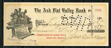 US ASH FLAT VALLEY BANK OF OLNEY, OKLAHOMA CANCELLED CHECK 12/4/1908