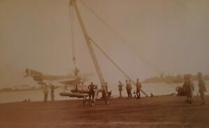 c1930 B/W Photograph. Gloster 6 Seaplane/ Aircraft Hoisted by Crane onto Land