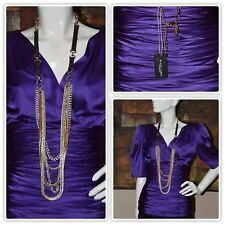 CHICO'S BLACK LABEL 5 STRAND GOLDEN CHAINS STATEMENT NECKLACE NEW!