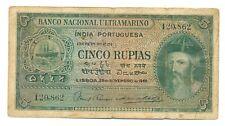 India Portuguesa Banco Nacional Ultramarino 5 Rupias 1945 F #35 Albuquerque b