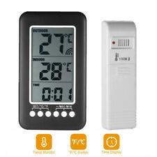 Digital Thermometer Clock Temperature Meter Wireless Transmitter Indoor/Outdoor