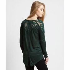 140362 Free People The Gatsby Long Sleeve Patchwork Green Blouse Tunic Top L