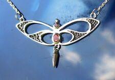 Kette Collier 925 Silber Schmetterling stilisiert mit Karneol