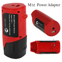 USB Adapter Power Source For Milwaukee 49-24-2310 48-59-1201 M12 DC 12V Battery