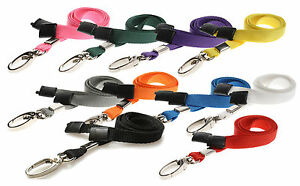 Lanyard Neck Strap, Strong Metal Clip for ID Card Pass Holder PICK YOUR COLOUR!!