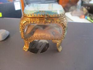 Antique French Bevelled Glass gilt Pocket Watch Holder/ display case