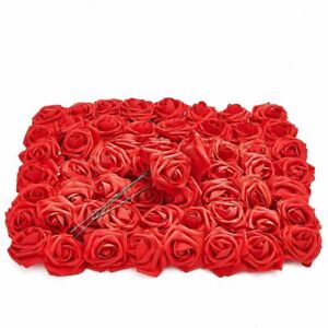 Red Artificial Rose Flower Heads with Stems, 3 Inch Faux Flower (60 Pk)