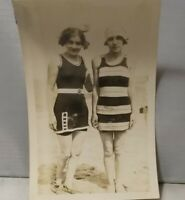 1920s Cute Young Girls Pose Old Timey Bathing Suits at Beach Vtg Photo Snapshot