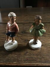 2 Vtg Sebastian Miniatures ~ Sidewalk Days Girl & Boy Roller skating 1978