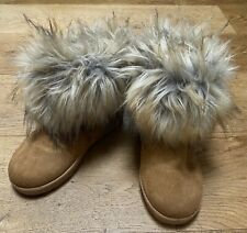 TAN BROWN ANKLE BOOTS FUR EU 37 UK 4 FAUX TOWIE PARTY XMAS WINTER GLAM CASUAL