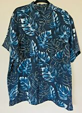 Dark Blue 100% Silk Hawaiian Floral Geometric Print Mens XL Short Sleeve Shirt