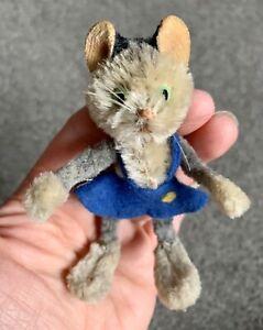 """Rare 1950/60s Schuco Tabby Girl Cat Mini Mascott Doll 3.5"""" Mohair Chenille Nice"""