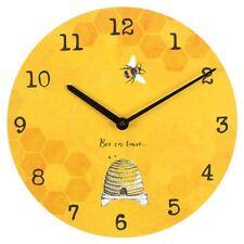 NEW SUNNY BRIGHT BEE YELLOW BLACK ROUND WALL CLOCK 34CM
