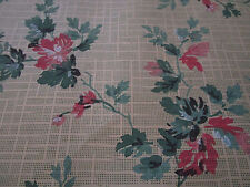 Antique Vtg 1940's Fab Pink Floral Wallpaper /Green Honeycomb HOLLYWOOD GLAM