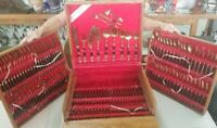 1950s Johny & Co Siam Thailand Flatware Set For 12 (144 pieces) Brass & Rosewood