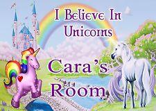 PERSONALISED UNICORN GIRLS BEDROOM DOOR PLAQUE CHILDRENS I Believe In Unicorns