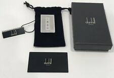 Dunhill Diamond Pattern Sterling Silver Money Clip with Original Box Pouch Card